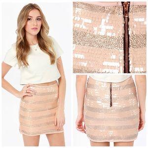 MINKPINK Sequin Rose Gold Blush Mini Skirt M EUC